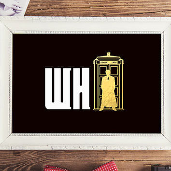 Shiny Gold Foil Print Doctor Who Poster, Doctor Who Office Art, Doctor Who Decor, Doctor Who Kids Room Wall Art, Doctor Who Nursery.
