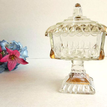 Vintage Jeannette glass wedding box gold trim pedestal compote with lid covered candy dish trinket dish brides box or cake box