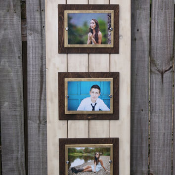 Handmade distressed plank picture frame with double wooden mats for three 5x7 or 4x6 photos; Ivory, brown, and gold;