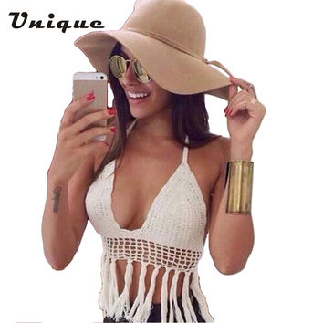 Crochet Crop Top Halter Neckline Lined Cups Tassel Hem Sexy Kintted Bra Regata Feminina Cover Up for Bikini Beach