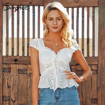 Simplee V-neck women blouse ruffled Elastic high waist hollow out lace blouse tops Back lace up peplum white blouse ladies tops