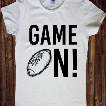 Game On American Football Rugby Shirt Funny Gray Pink Elegant Women T-shirt Tank Top Fitness Muscle Yoga Mom Graphic Tee