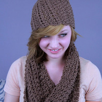 Fall Fashion Shell Beanie & Infinity Scarf. Round Scarf. Handmade. Ready to ship.