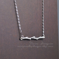 Branch Necklace Sterling Silver Twig Necklace Silver Tree Branch Necklace Dainty Delicate Necklace Simple Jewelry Friendship Gift For Her