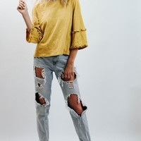 WP Mustard Ruffle Top