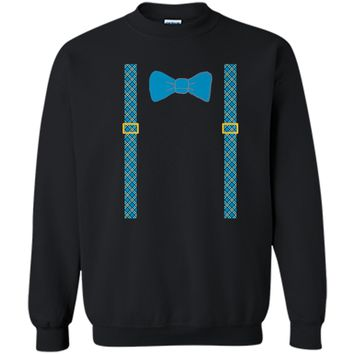 Easter T-Shirt with Bow Tie and Suspenders Printed Crewneck Pullover Sweatshirt 8 oz