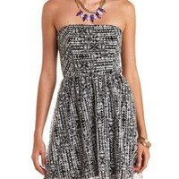 Strapless Tribal Print Lace Skater Dress