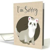Cute Sad Ferret for Apology card