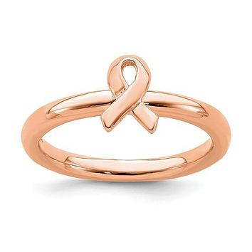 Sterling Silver Stackable Expressions Rose Gold Awareness Ribbon Ring
