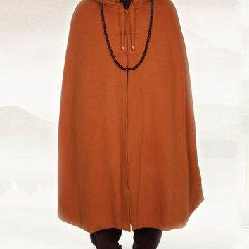 unisex 4color zen meditation cloak Warm Buddhist Monk suit robe winter clothing coat martial arts cape red/brown/yellowgray