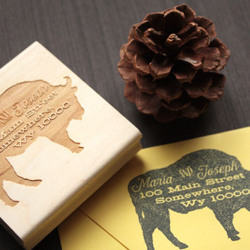 Woodland American Buffalo Return Address Stamp - Unique Address Stamp - The Great Outdoors
