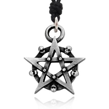 Pentagram 5 Pointed Star Silver Pewter Charm Necklace Pendant Jewelry