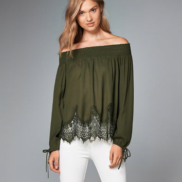 Womens Off-The-Shoulder Lace Hem Peasant Top | Womens Tops | Abercrombie.com