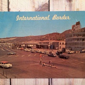 The United States and Mexican Border, 1950s Postcard