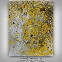 """Yellow painting 30"""" Mixed media wall art, Original painting on canvas, Large modern wall art for office or home decor by Nandita Albright"""