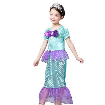 2017 Baby Kids Girls Princess Ariel Little Mermaid Costume Fancy Dress Up 3-10Y