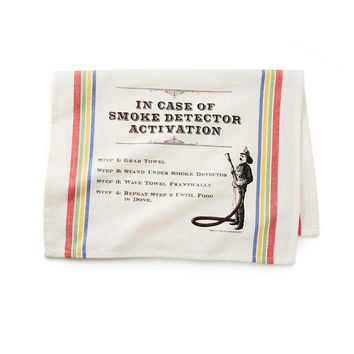 Smoke Detector Deactivation Towel | Handmade Kitchen Tea Towel