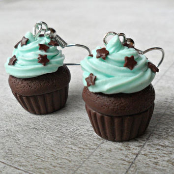 Food Jewelry Cupcake earrings - mint Cupcake with chocolate stars Miniature food jewelry, cupcake jewelry