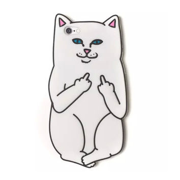 2016 The Newest Fashion 3D skateboard cartoon animals rock middle finger cute white corna cat soft silicone case skin For iphone