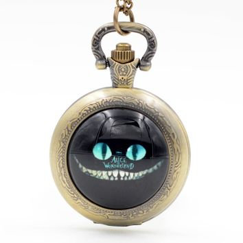 Alice in Wonderland Cheshire Cat 'Grin like a Cheshire Cat' Quartz Pocket Watch Pendant Necklace Mens Womens Boys Girls Gift