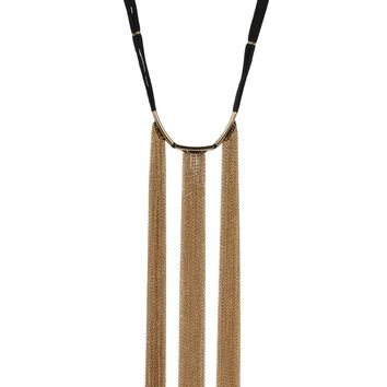 Hanging By A Moment Necklace in Black and Gold