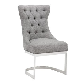 BLANK MILESTONE GREY FABRIC BUTTON TUFTED SEAT BACK WITH STAINLESS STEEL CROWN BASE DINING CHAIR