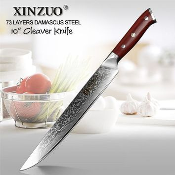 """XINZUO 10"""" Cleaver Meat Knife VG10 Damascus Steel Kitchen Knife Newest Professional Chef Sushi Long Knives with Rosewood Handle"""