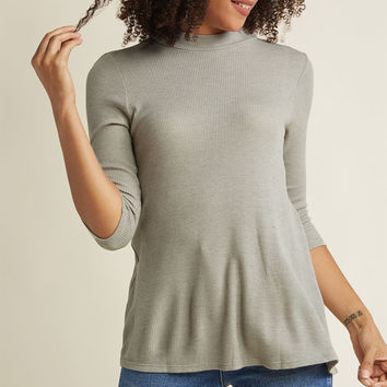 Mock Neck Knit Top with Cropped Sleeves in Black