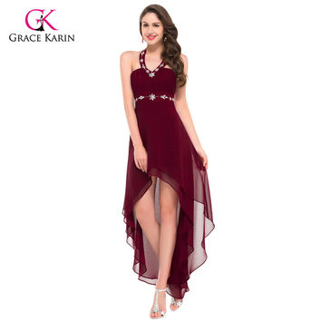 Grace Karin Women Sexy Black Burgundy Evening Dresses  short front long back Backless red Formal Evening Gowns Party Dresses