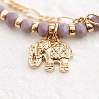 Layered Elephant Charm Bracelet