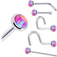 Solid 14KT White Gold 2mm Fuchsia Synthetic Opal Nose Ring