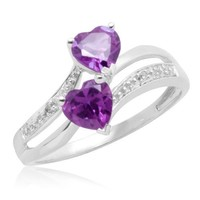 10k White Gold Double Heart-Shaped Amethyst with Diamonds Heart Ring, Size 5
