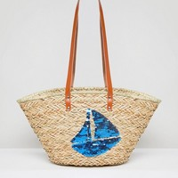 Vincent Pradier Sail Boat Structured Straw Beach Bag at asos.com