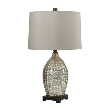 Reverse Hammered Glass Table Lamp in Antique Mercury
