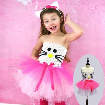 White and Hot Pink Girl Kitty Design Costume Tutu Dress Children Clothing Summer Kids Girl Party Halloween Costume Cartoon Dress