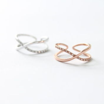 Sterling Silver Or Rose Gold Cross Rings