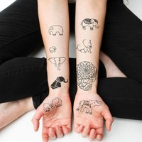 Amazon.com: Elephants Temporary Tattoo Pack