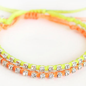 Rhinestone chain bracelet neon yellow and orange swarovski chain waxed cotton cord istanbul turkey jewelry best friend birthday gift