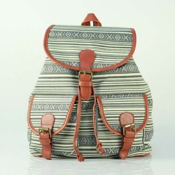 Cute Striped Large College Backpacks for School Bag Canvas Daypack Travel Bag