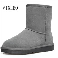 VIXLEO Quality Ug Australia Women Boots Mujer Botas Ankle Leather Button Lady Snow Boots Warm 2017 Brand Unisex  Winter Shoes