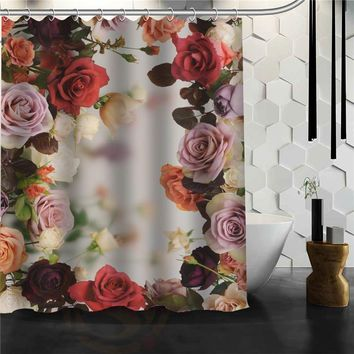 Custom Beautiful flowers print Shower Curtain Bathroom Products Creative Polyester Home Shower Curtain/Bathroom Product