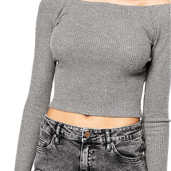Open Back Cropped Long Sleeve T-shirt