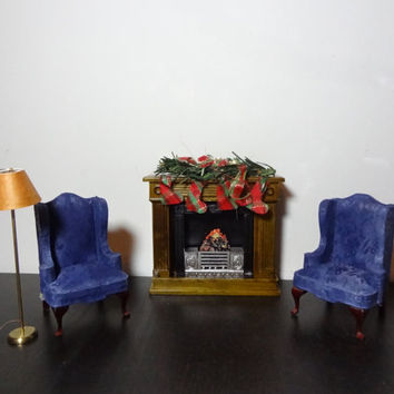 Vintage Doll House Miniature 1:12 Furniture - 2 Blue Wingback Chairs, Wood Fireplace, and Floor Lamp with Wire