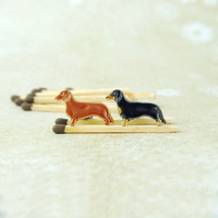 Dachshund Sausage Dog Doxie Earrings Ceramic Jewelry Miniatures Tekkel Weenie