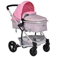Infant Stroller 2 in 1 Foldable Baby Buggy Pushchair (Pink)