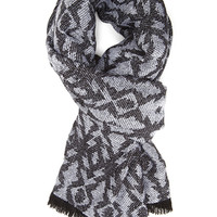 FOREVER 21 Tribal Print Scarf Black/Grey One