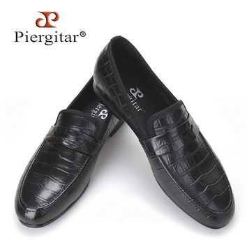 Handmade Crocodile embossed Genuine Leather Men's shoes party and wedding Men Loafers male's Causal Flats Size US 4-17