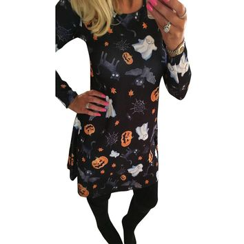 Skull Print Long Sleeve  Dress Party Mini Dresses Women Halloween Pumpkin Woman Dress 2018 Spring Summer Vestido Blanco#20