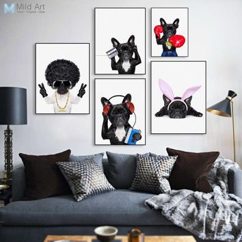 Funny Animal Pet Bulldog Posters Print Nordic Kawaii Kids Room Music Love Wall Art Pictures Photo Big Home Decor Canvas Painting