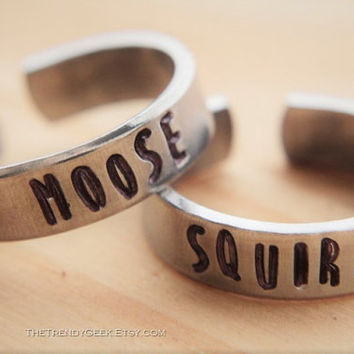 Moose & Squirrel Companion Ring Set, Supernatural, Dean, Sam, Adjustable, Hand Stamped